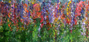 Robbie Kaye painting named 'Wild Flowers' part of her 'Treads' painting series.